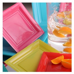 Assiette plastique jetable carrée vert