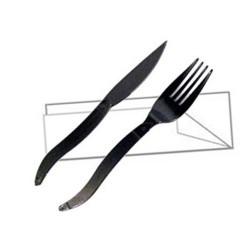 Kit couverts en plastique noir 3 en 1