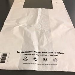 Sac bretelle blanc réutilisable 50 µ
